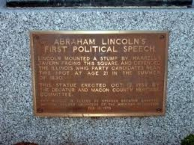 Lincoln presents his first political speech