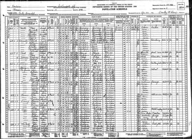 1930 US Census - Marion Co., Indiana, USA