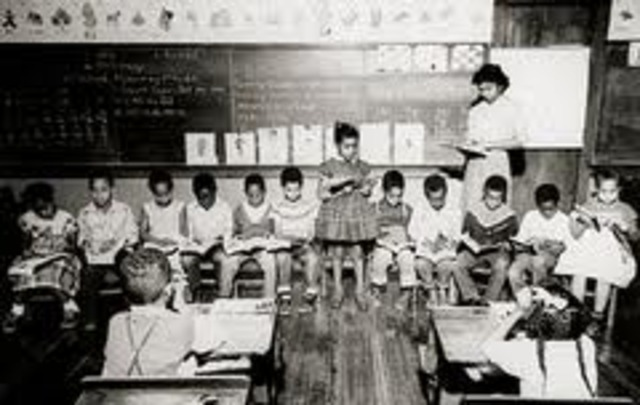 Primary schools in Topeka, KS, segregated. High school was integrated with seperate activities.