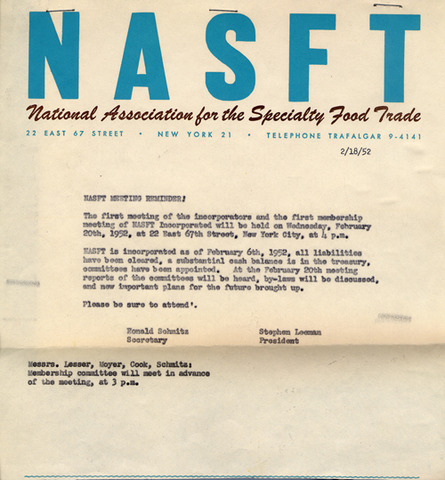 First Membership Meeting of the NASFT
