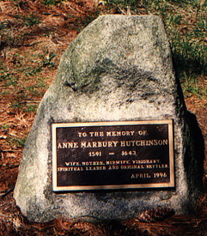 Bronze tablet commemorating Anne Hutchinson placed by her grave.
