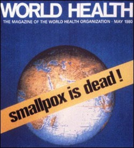 Smallpox officially declared eradicated worldwide