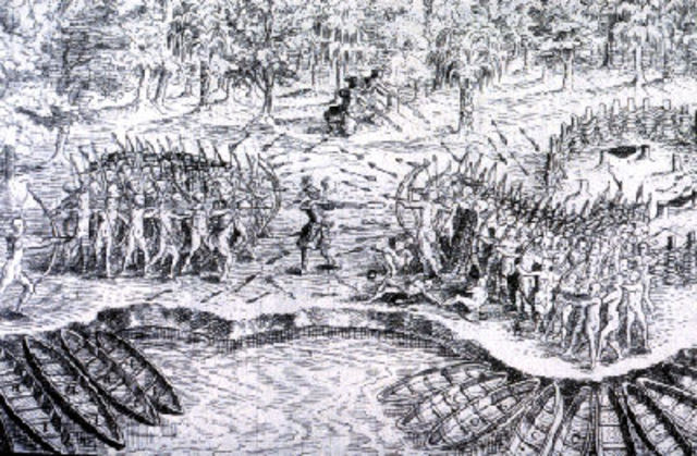 The battle against the Mohawk Iroquois.