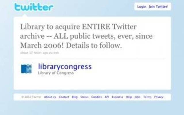 Library of Congress will archive all public tweets.
