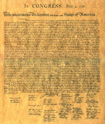 Signs Declaration of Independence