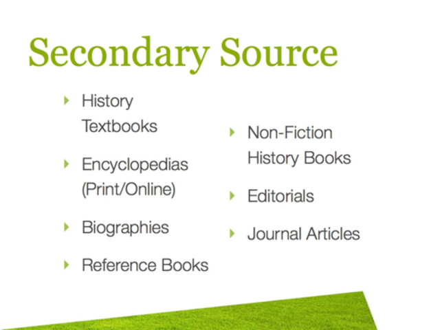 secandary sources essay When evaluating primary or secondary sources, the following questions might be asked to help ascertain the nature and value of material being considered.