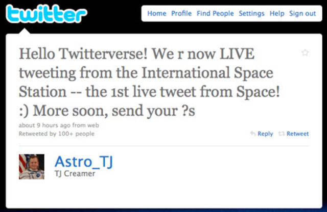 The first tweet from space.