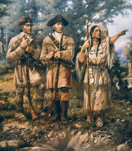 Corps reach present day North Dakota, build Fort Mandan and meet Sacagawea