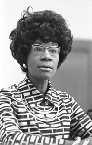Shirley Chisholm becomes the first African-American woman elected for Congress on the year of 1969