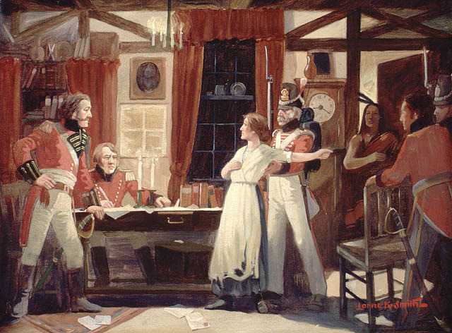 Laura Secord talking to James FitzGibbon about American plans to invade