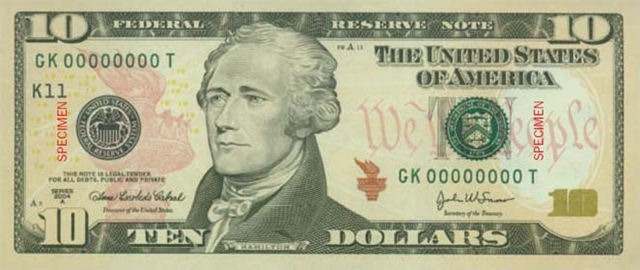Alexander Hamilton on the $10 Dollar Bill