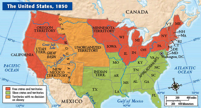 Deepening Crisis Over Slavery Timeline Timetoast Timelines - 1850 map of us