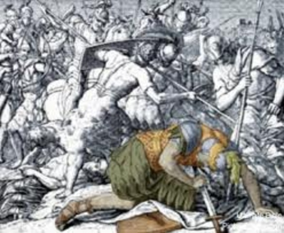 Samuel dies and in a battle 3 of Saul's sons die and he gets wounded and falls on his sword