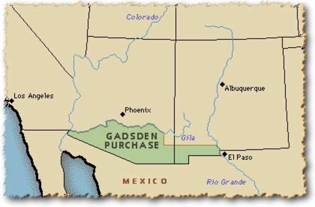 the gadsden purchase The gadsden purchase us minister to mexico james gadsden, and three envoys of the president of mexico general antonio lópez de santa anna pérez de lebrón, signed the gadsden purchase, or gadsden treaty, in mexico city on december 30, 1853.