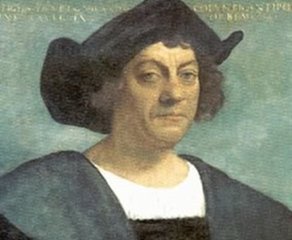 "Christopher Columbus discovers the ""new world."""