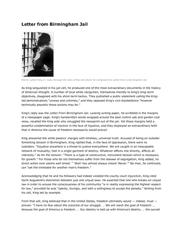 """letter from birmingham with work cited """"letter from birmingham jail putting our money where our mouths are 159 both those cited in the letter."""