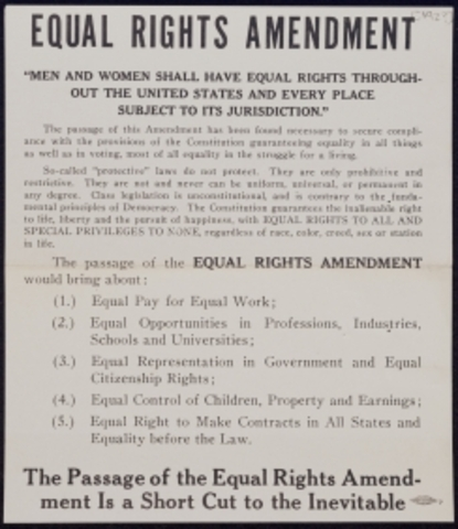 a study of the womens rights movement and the equal rights amendment The equal rights amendment was written by alice paul in 1923, just years after women were granted the right to vote by the 19th amendment she was the founder of the national woman's party and a suffragist leader.