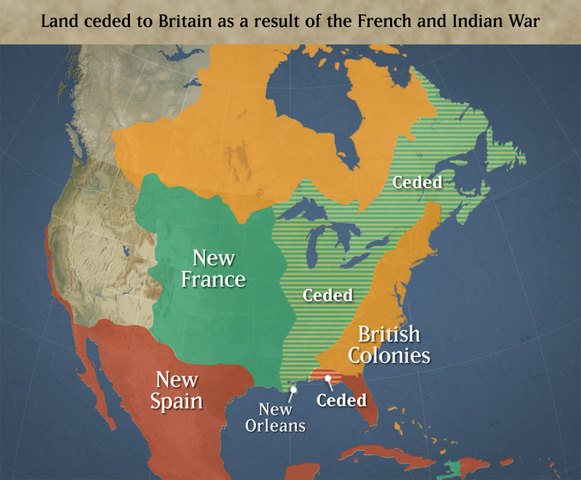 Treaty of Paris is ratified following France's loss in the French and Indian War