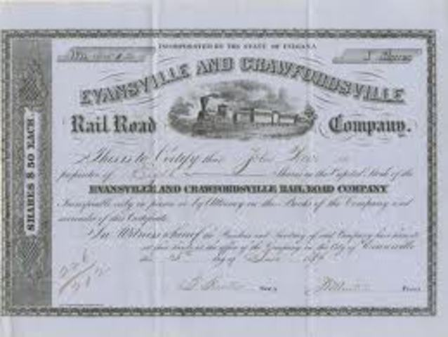 Evansville's first railroad was opened (Evansville and Crawfordsville Railroad).