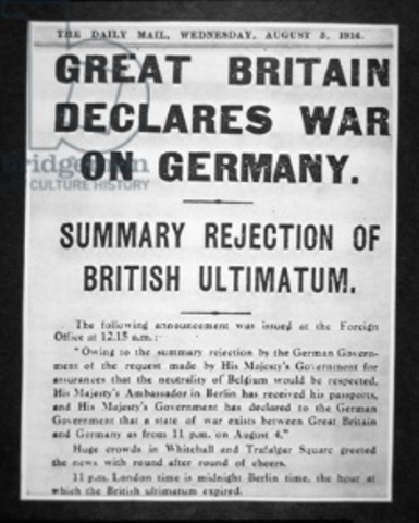 Britain declare war with Germany