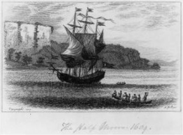 Henry Hudson Lands in New York Harbor