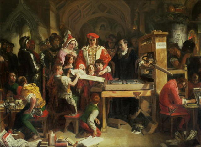 William Caxton sets up first printing press in England