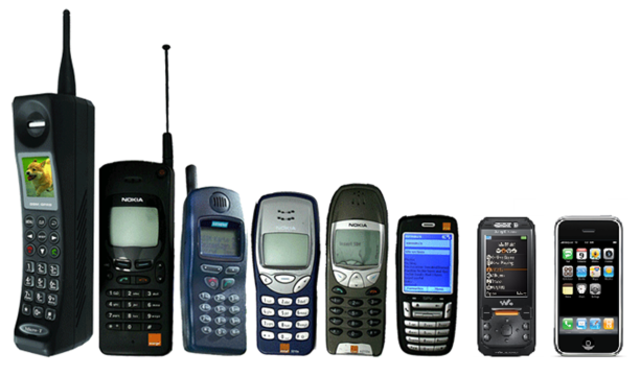 The evolution of mobile phones. timeline