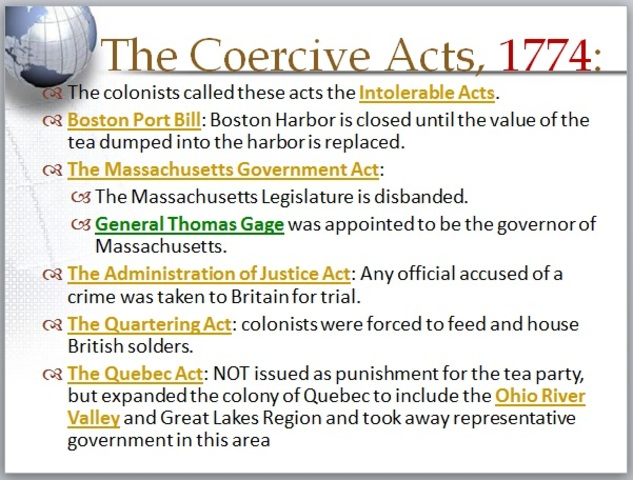 the intolerable acts coercive acts transformed the Learn the intolerable acts coercive with free interactive flashcards choose from 500 different sets of the intolerable acts coercive flashcards on quizlet.