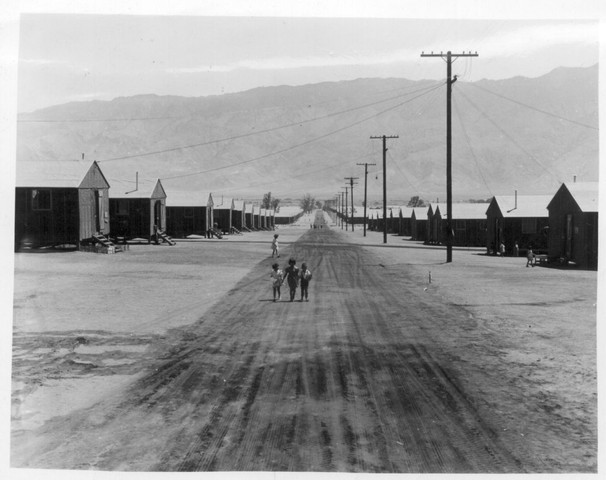 First group of Japanese American volunteers arrive at Manzanar, CA.
