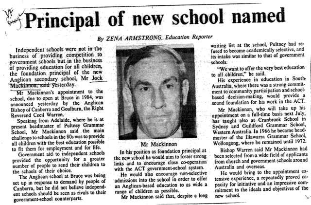 First Principal Named