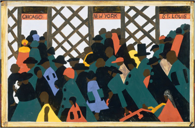 "Jacob Lawerence's ""The Migration of the Negro""-1 out of the series"