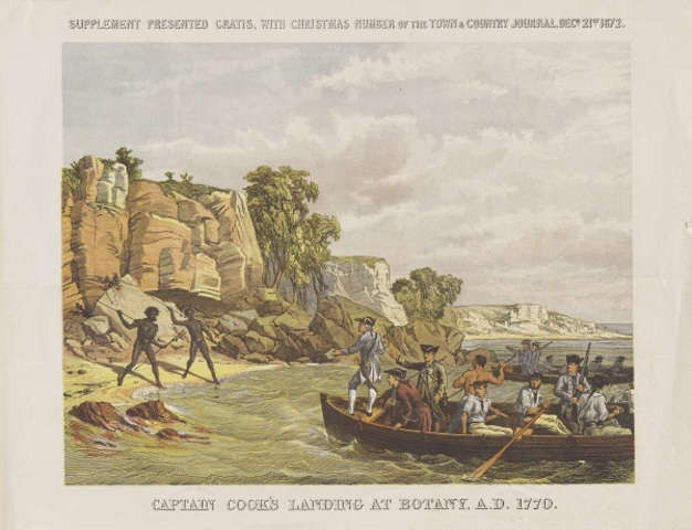Arrival of the first fleet to Botany Bay and Capain Cook's discovery of terra nullius