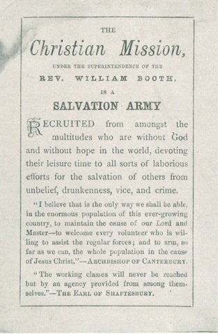 "an analysis of the salvation army founded by william booth The salvation army, founded by william and soap and salvation,"" which served as william booth proposed in the salvation army weekly newspaper war."