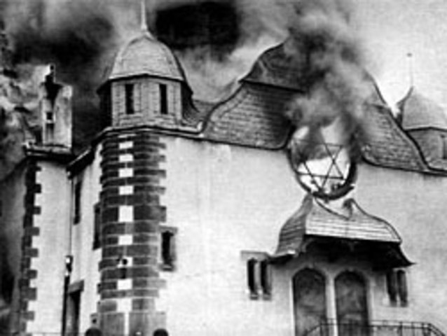 "Kristallnacht or ""Crystal Night"" occurs"