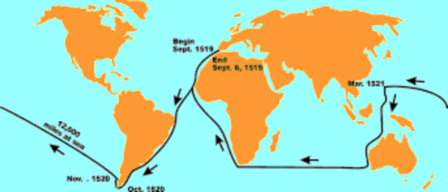magellan trip around the world Ferdinand magellan magellan was sponsored by spain to travel west across so although he had masterminded the first expedition to sail around the world.