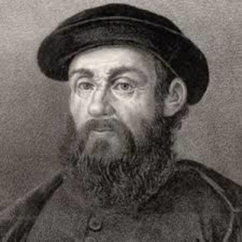 Ferdinand Magellan set out from Spain with 5 ships to cross the Atlanticc to South America.