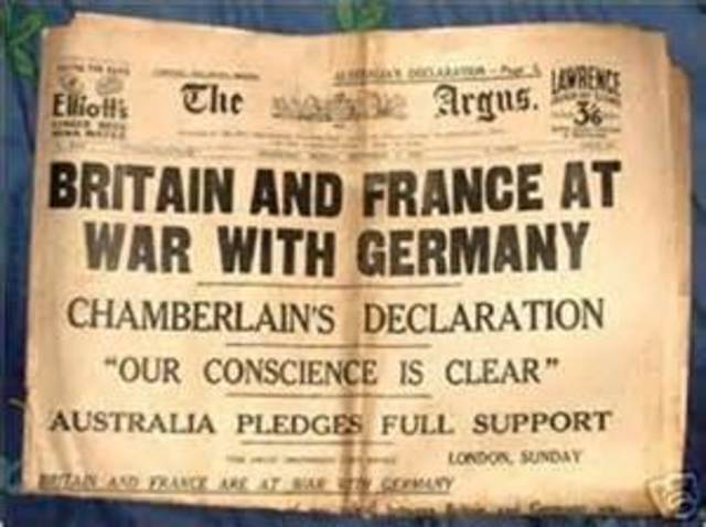 Great Britain/France declare war on Germany
