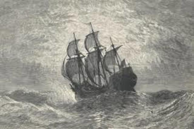 The Mayflower lands at Plymouth Rock, Massachusetts.