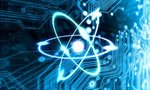 Stock footage techno background with circuit board and atom  landscape