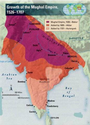 Growth of Mughal Empire Map