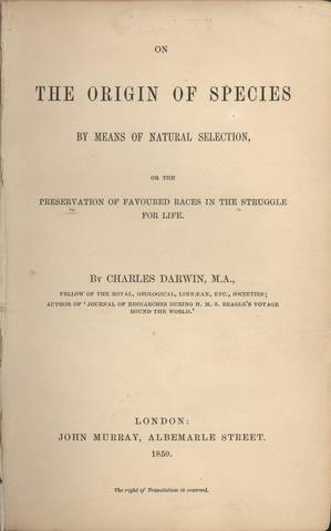 "Darwin publishes ""The Origin of Species"""