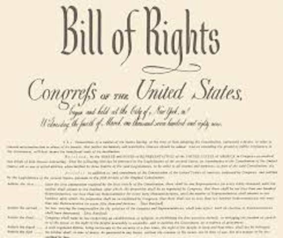 Bill of Rights added to the United States Constitution