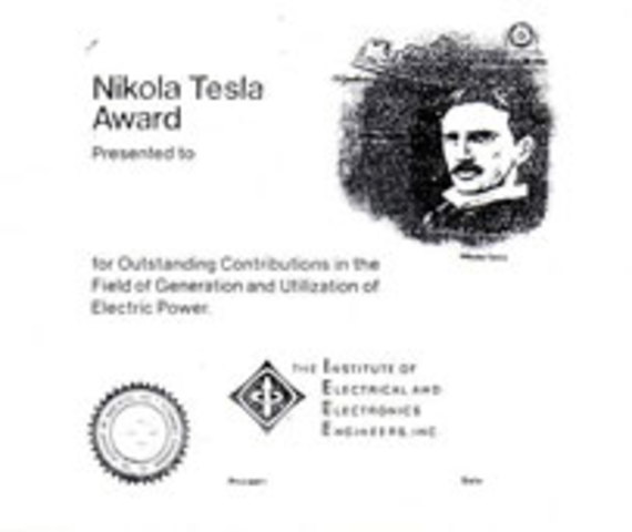 Nikola Tesla Award Developed