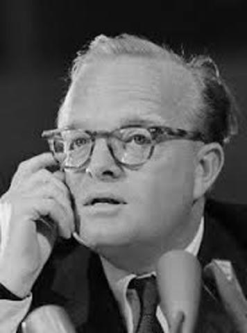 Truman Capote dies of liver disease complicated by phlebitis, an inflammation of the veins, and multiple drug intoxication, in a guest bedroom at the house of his friend, Joanna Carson, the former wife of Johnny Carson.
