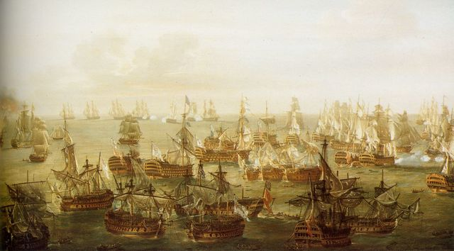 The british defeat the french and the spanish at trafalger
