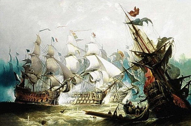 British defeat French and spanish Trafalgar