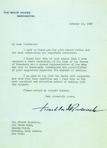 "Einstein's letter to FDR, ""The Manhattan Project"""
