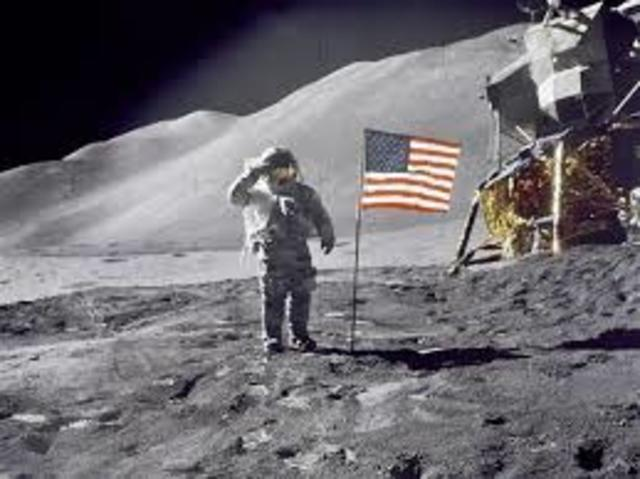 U.S lands on the moon
