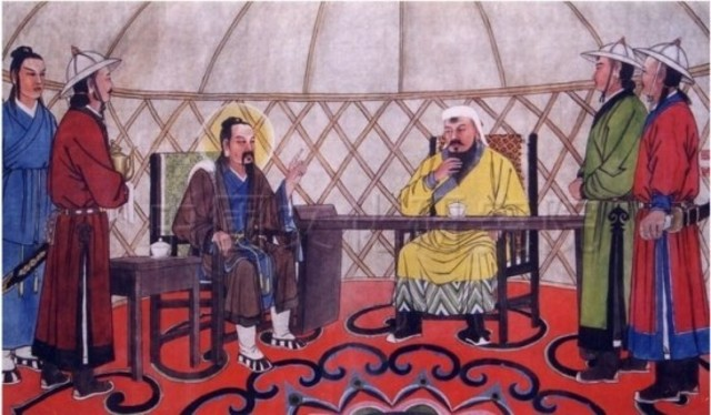 Genghis Khan Meets Qiu Chuji, the Taoist sage.