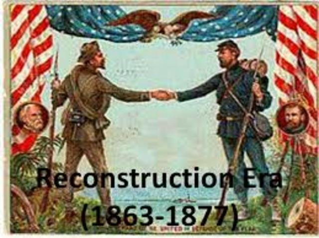 reconstruction era In the history of the united states, the term reconstruction era has two senses: the first covers the complete history of the entire us from 1865-1877 following the civil war the second sense focuses on the transformation of the southern united states from 1863 to 1877, as directed by.